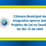 Câmara Municipal de Araguaína aprova dois Projetos de Lei na Sessão do dia 15 de abril